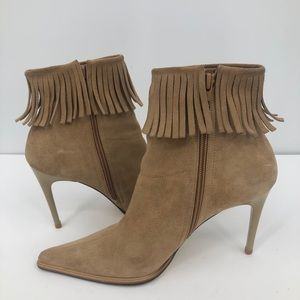 Privilege women's tan suede Ankle boots w/fringe 6
